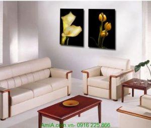 Tranh in ép gỗ hai tấm nghệ thuật hoa lá Amia 1251