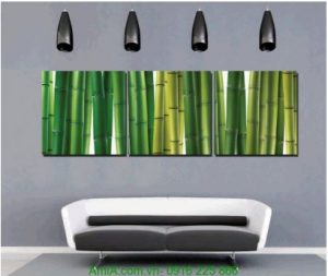 Tranh trang trí tường spa cây trúc xanh Amia 1232