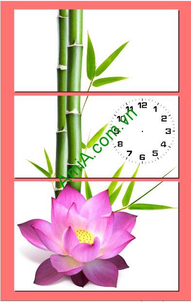 Tranh treo tuong hoa sen va tre ghep dong ho amia 238