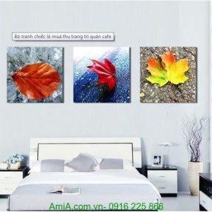 Tranh treo tường quán cafe chiếc lá mùa thu đẹp Amia 1227
