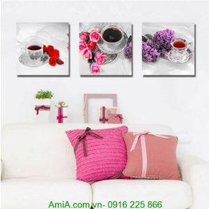Tranh tách trà và hoa ghép bộ thư thái Amia 1243