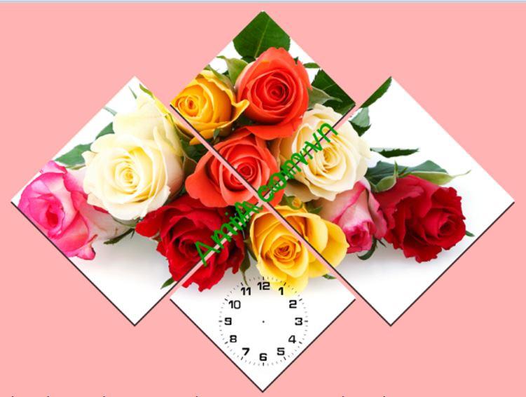 Tranh treo tuong dong ho ghep hoa hong xinh tuoi Amia 214