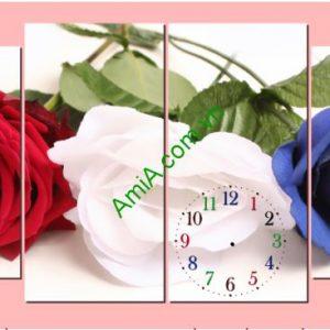 Tranh đồng hồ treo tường Hoa Hồng nghệ thuật, AmiA TDH 131