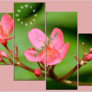 Tranh đồng hồ treo tường hình hoa ghép nghệ thuật - AmiA TDH132