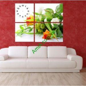 Tranh đồng hồ treo tường Lắng hoa tình yêu, AmiA TDH128