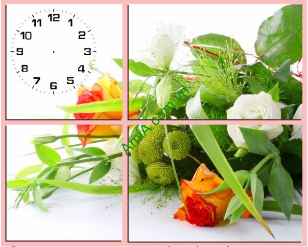Tranh dong ho treo tuong lang hoa tinh yeu Amia TDH 128