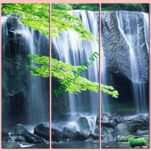Tranh phong cảnh đồng hồ treo tường Thác nước, AmiA TDH126