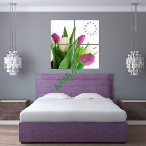 Tranh đồng hồ treo tường hình hoa Tulip, AmiA TDH129
