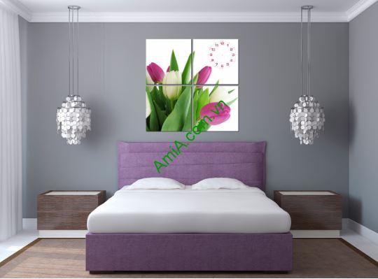 Tranh dong ho hinh hoa tulip Amia TDH 129