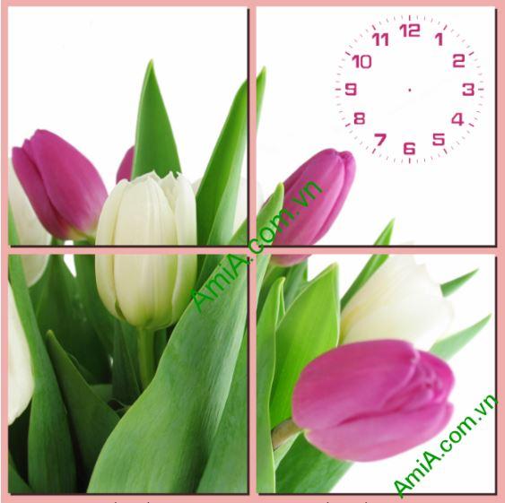 Tranh dong ho treo tuong hinh hoa tulip Amia TDH 129