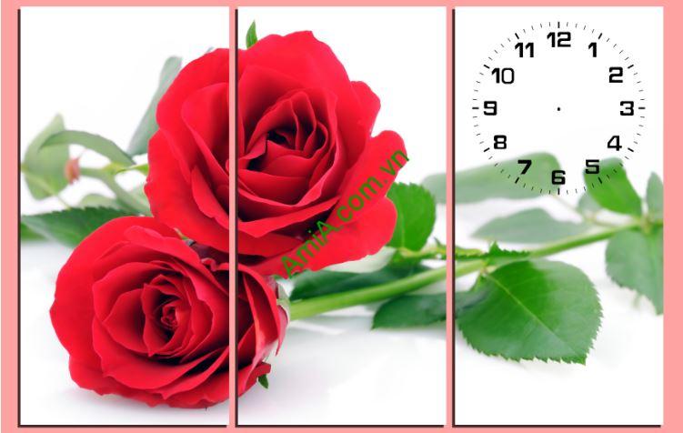 Tranh treo tuong ghep hoa hong do lang man Amia 183