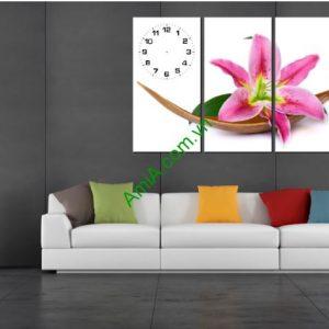 Bộ tranh đồng hồ ghép nghệ thuật: Hoa Ly - AmiA TDH 194