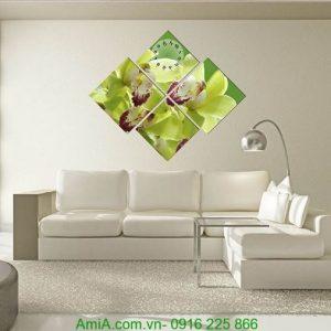 Tranh đồng hồ hoa phong lan ghép bộ hình thoi AmiA 192