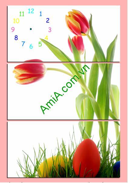 bo tranh dong ho hoa tulip ghep nghe thuat Amia TDH 212