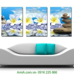 Tranh treo tường spa hoa đại trắng trên đá xinh Amia 1231