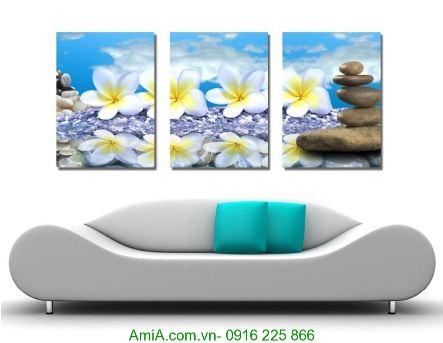 Tranh treo tường spa hoa đại trắng trên đá Amia 1231