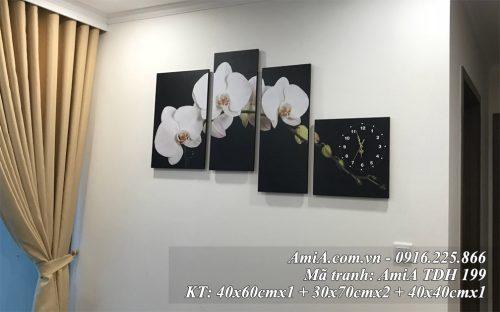 Tranh treo tuong phong khach chung cu hien dai hoa phong lan trang