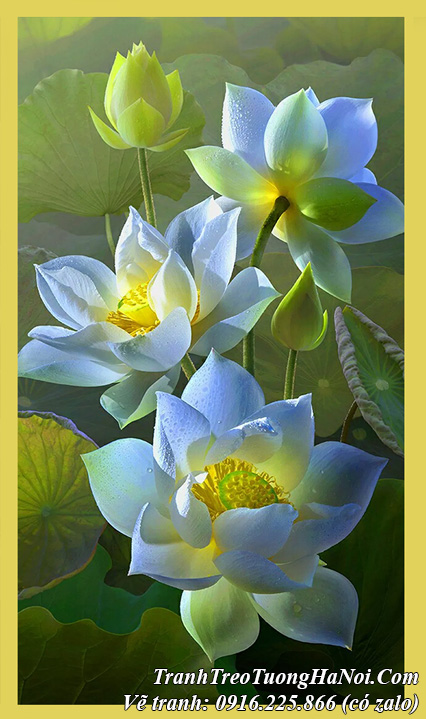 Tranh hoa Sen trắng đẹp nghệ thuật vẽ sơn dầu