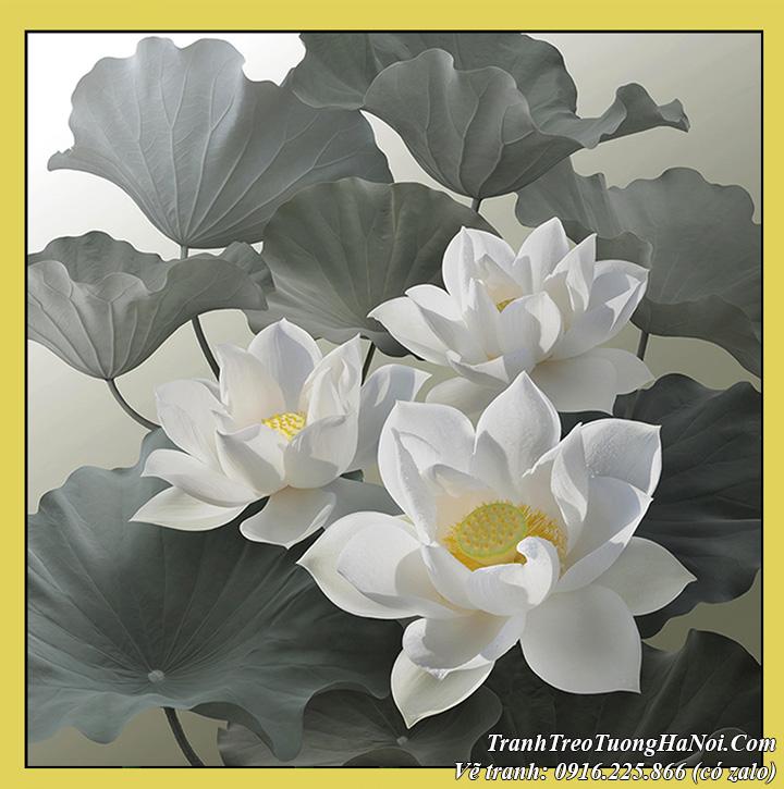 Tranh hoa Sen của Dương quốc Định vẽ sơn dầu