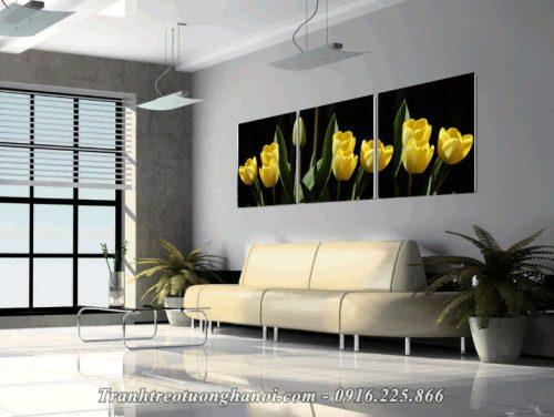 Hinh anh tranh hoa tulip ghep bo 3 tam amia