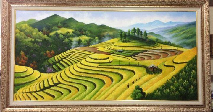 Nhan ve tranh phong canh que huong ruong bac thang AmiA