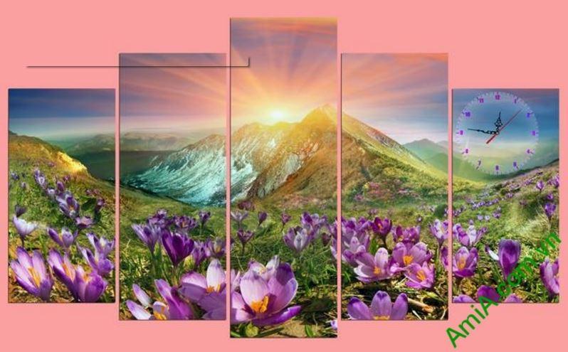tranh canh doi hoa dep ghep dong ho amia 279