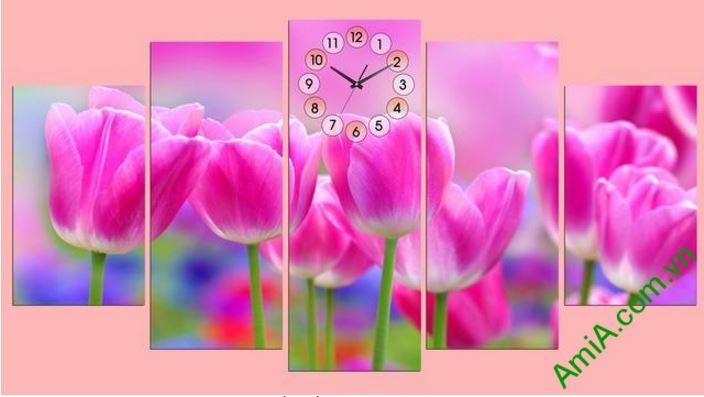 tranh treo tuong hoa tulip va dong ho ghep nghe thuat amia 286