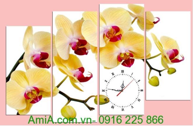 tranh ghep dong ho hoa phong lan ho diep mau cam amia 259