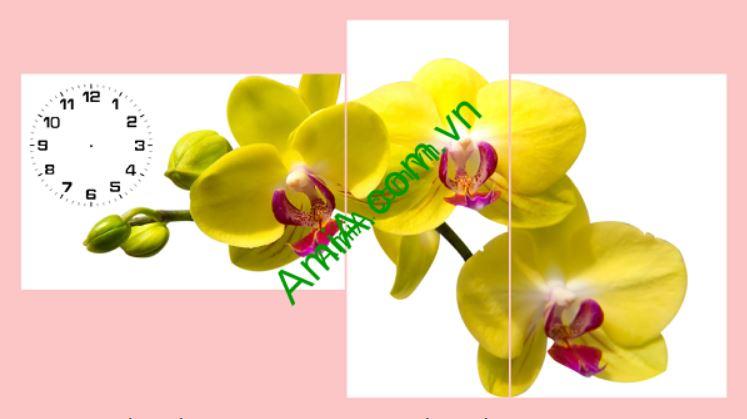 tranh treo tuong ghep dong ho hoa lan vang xinh