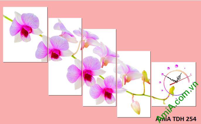 tranh dong ho hoa phong lan ghep bo xinh amia 254