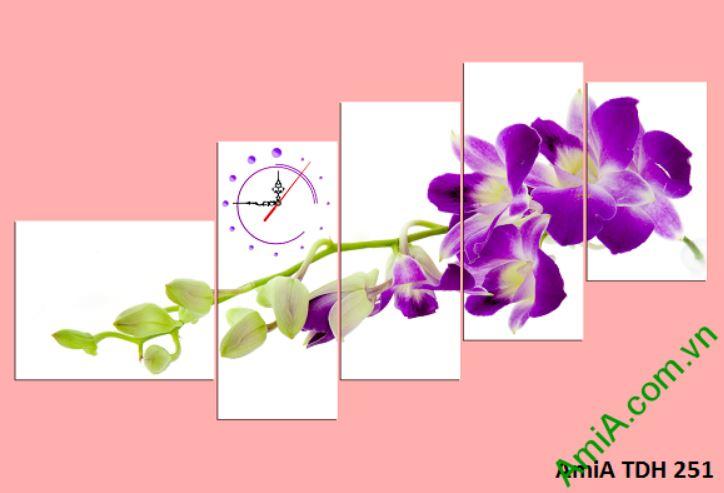 Tranh dong ho treo tuong hoa phong lan tim Amia 251