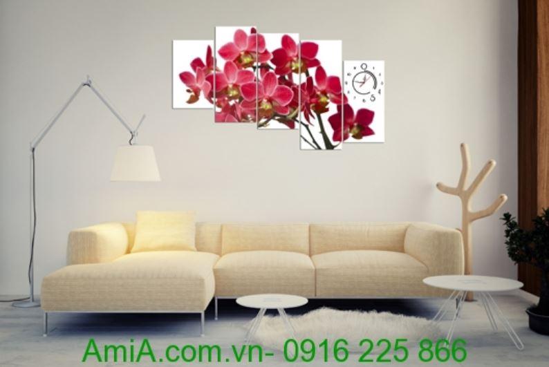 tranh treo phong khach phong lan ho diep do xinh dep amia 249