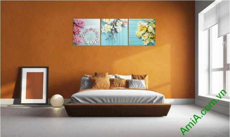 tranh treo tuong dong ho ghep hoa la dep amia 282