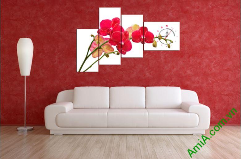 tranh dong ho treo tuong hoa phong lan do dep amia 245
