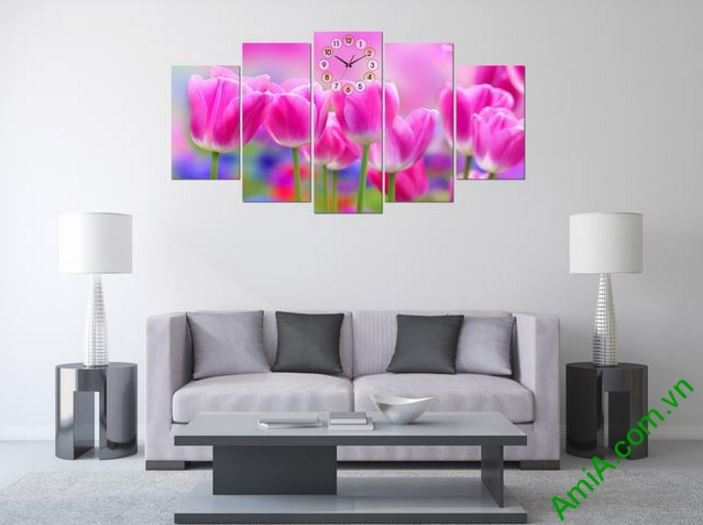 tranh ghep dong ho hoa tulip dep amia 286