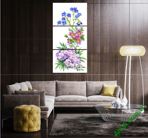 tranh treo tuong hoa la ghep dong ho dep amia 253