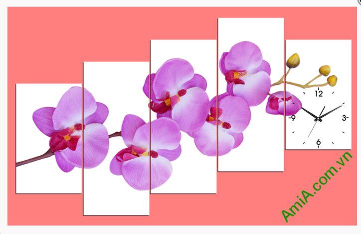 tranh dong ho phong lan tim treo tuong amia 256