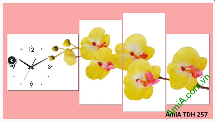tranh dong ho hoa phong lan vang amia 257