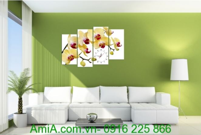 tranh treo tuong dong ho hoa phong lan mau cam amia 259
