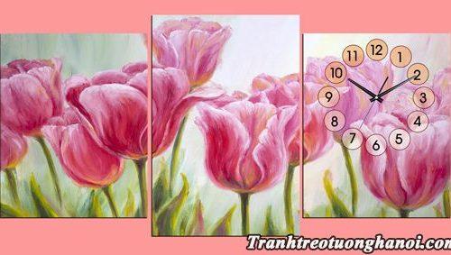 Hinh anh tranh dong hoa hoa tulip treo tuong ghep 3 tam AmiA