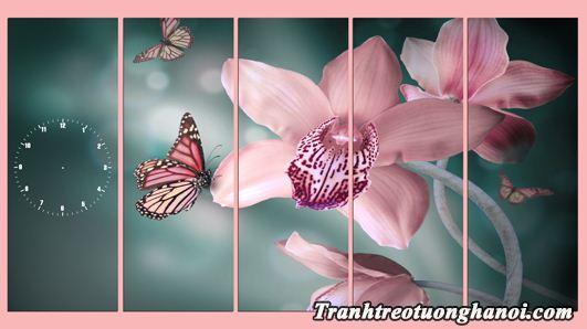 Tranh ghep bo hoa buom treo phong khach phong ngu AmiA