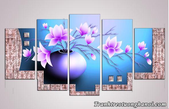 Tranh ghep bo treo tuong binh hoa sen dat mau xanh tim