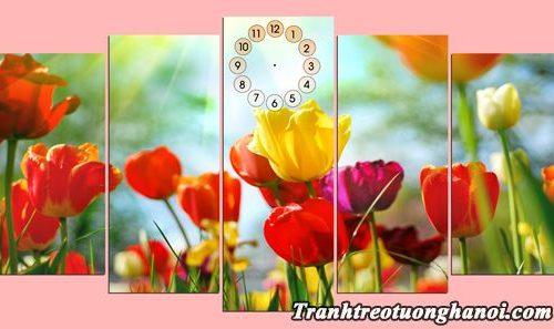 Tranh ghep phong canh dong hoa tulip treo tuong