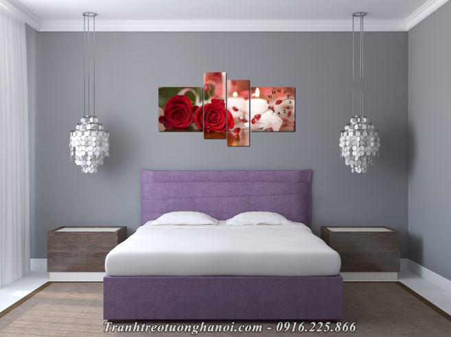 Tranh hoa hong tinh yeu treo tuong phong ngu