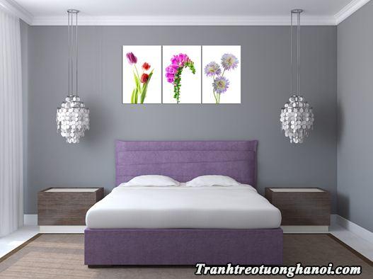 Tranh treo phong ngu hien dai hoa ghep bo