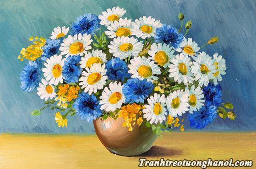 Hinh anh tranh treo tuong binh hoa cuc in gia son dau mot tam