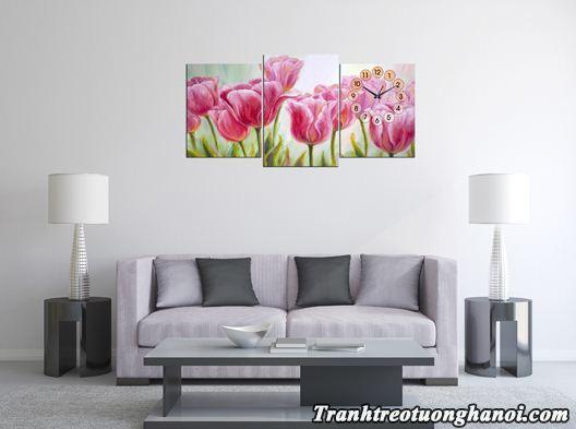 Hinh anh tranh treo tuong phong khach dong ho hoa tulip