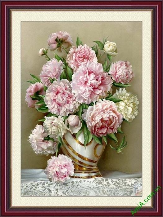 Tranh phong thuy binh hoa mau don treo tuong y nghia
