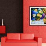 Bang gia tranh phong thuy binh hoa hong treo tuong phong khach dep