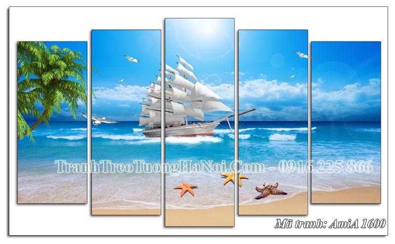 Tranh treo tường Amia 1600 thuyền buồm biển xanh